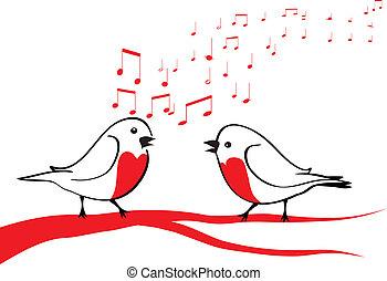 Pájaros cantando en la rama del árbol