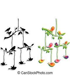 Pájaros con rama de árbol, vector