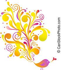 Pájaros con remolinos