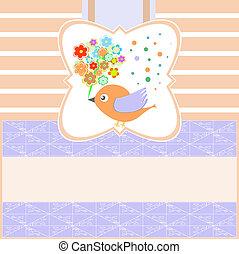 Pájaros con tarjeta de felicitación Vector en blanco