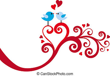 Pájaros de amor con espiral de corazón, vector