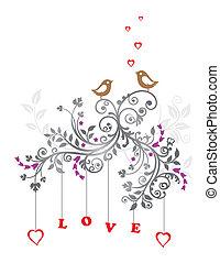 Pájaros de amor y adorno floral