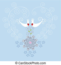 Pájaros de amor y adornos del corazón