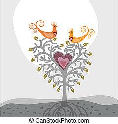Pájaros de amor y un árbol con forma de corazón