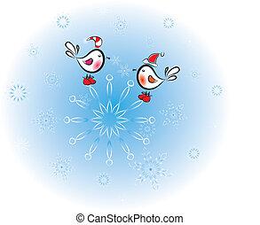 Pájaros en copos de nieve, navíos, ilustración del vector