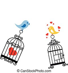 Pájaros enamorados de la jaula