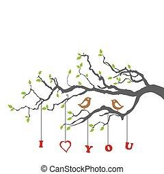 Pájaros enamorados en una rama de árbol