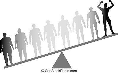 pérdida, escala, ataque, peso, dieta, grasa, condición física, pesar
