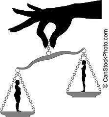 pérdida, mujer, ataque, peso, grasa, escala, dieta, asimiento