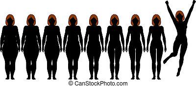 pérdida, mujer, peso, ataque, después, dieta, siluetas, grasa, condición física
