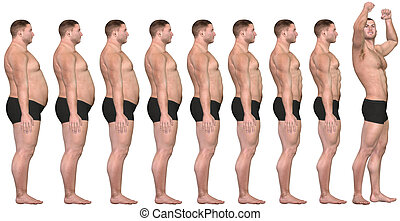 pérdida, peso, ataque, éxito, después, 3d, grasa, antes, hombre