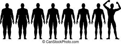 pérdida, peso, ataque, éxito, después, dieta, grasa, antes