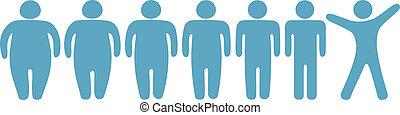 pérdida, peso, gente, grasa, delgado, condición física