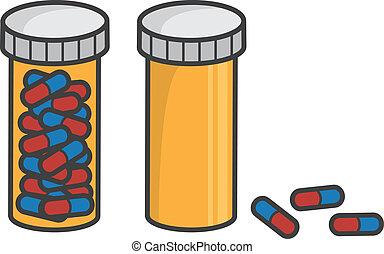 píldora, vacío, lleno, botella
