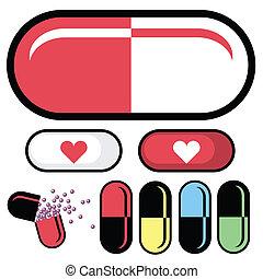 píldora, vector, farmacéutico