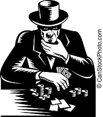 póker, cima, alto, juego, hombre, sombrero, naipe, estacas