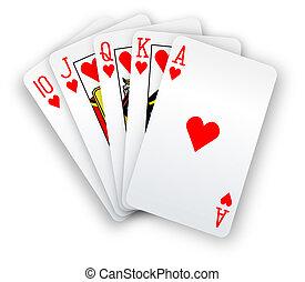 póker, derecho, mano, rubor, tarjetas, corazones
