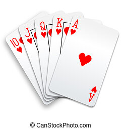 póker, derecho, real, mano, rubor, tarjetas, corazones, juego