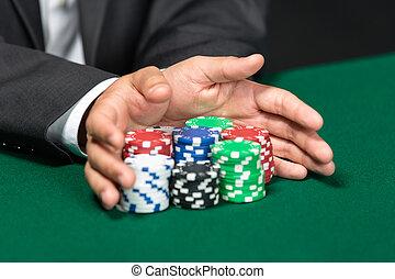 """póker, el suyo, """"all, empujar, yendo, delantero, pedacitos, jugador, in"""""""