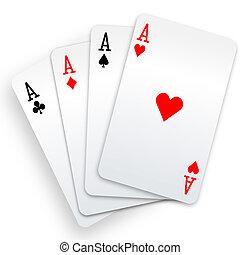 póker, ganador, mano, cuatro ases, tarjetas, juego