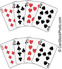 póker, nueve, diez