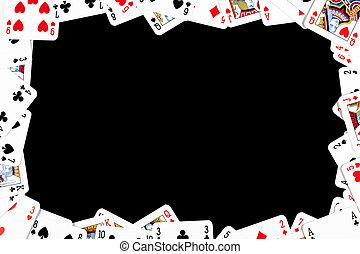 póker, tarjetas, hecho, marco, juego