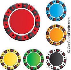 póker, vector, astilla, conjuntos