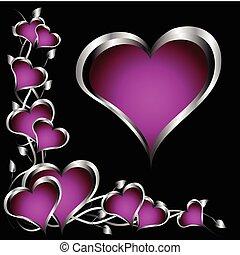 púrpura, día de valentines, fondo negro, corazones, flores, plata