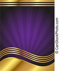 púrpura, elegante, oro, plano de fondo