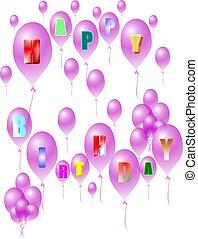 púrpura, feliz cumpleaños, globos