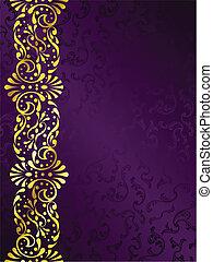 púrpura, filigrana, margen, plano de fondo, oro