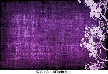 púrpura, floral, decoración, grunge