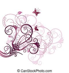 púrpura, floral, esquina, elemento del diseño