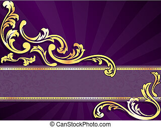 púrpura, horizontal, bandera, oro