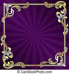 púrpura, marco, oro