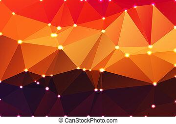 Púrpura naranja, amarillo, rojo, fondo geométrico marrón con luces