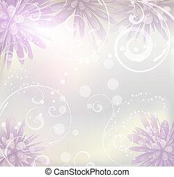 púrpura, pastel, flores, fondo coloreado