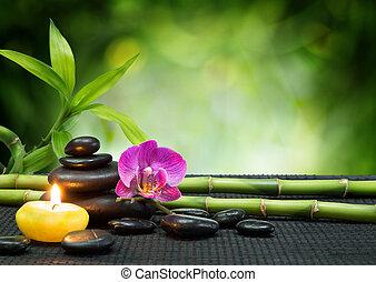 púrpura, piedras, vela, orquídea