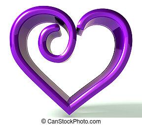 púrpura, swirly, imagen, corazón, 3d