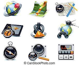 p.1, vector, navegación, icons., gps
