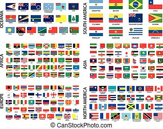 país, alfabético, banderas, continente