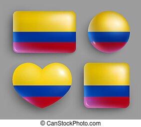 país, brillante, conjunto, bandera de colombia, botones