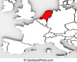 País de Netherland abstracto mapa 3D del continente europeo