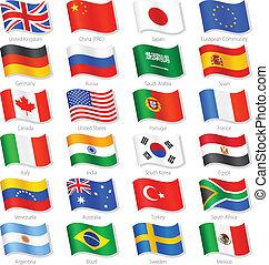 países, cima, vector, banderas, mundo, nacional