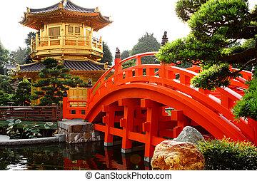 Pabellón de oro oriental de Chi lin Nunery y jardín chino, marca de tierra en Hong Kong.
