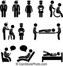 paciente de enfermera, hospital, enfermo, doctor