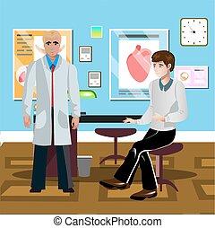 Paciente masculino en el médico