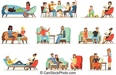 Pacientes en una recepción en los psicoterapeutas. Gente hablando con psicólogos. Terapia psicológica, ilustraciones coloridas