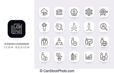 pack., y, icono, dirección, arte, línea, incompleto, estrategia