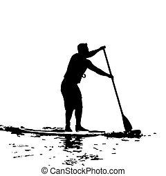 Paddleboarder en Swansea Bay